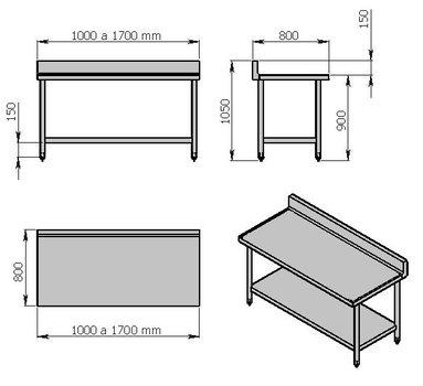 Mesa de trabajo de 1000 mm con lambrín y entrepaño