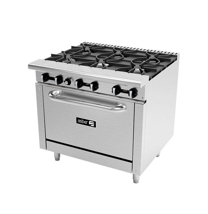 Estufa Asber con 6 quemadores y horno
