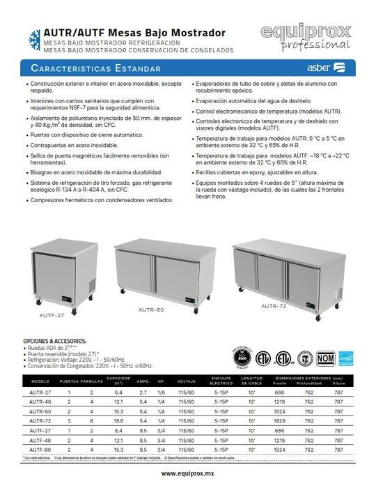 Mesa refrigerada bajo mostrador