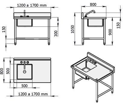 Mesa de trabajo con una tarja izquierda de 1600 mm