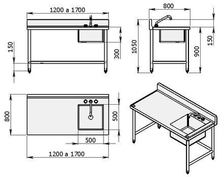 Mesa de trabajo con una tarja derecha de 1200 mm