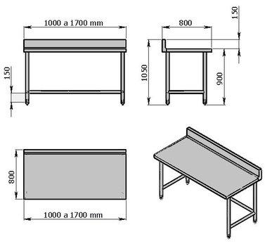 Mesa de trabajo de 1100 mm con lambrin sin entrepaño