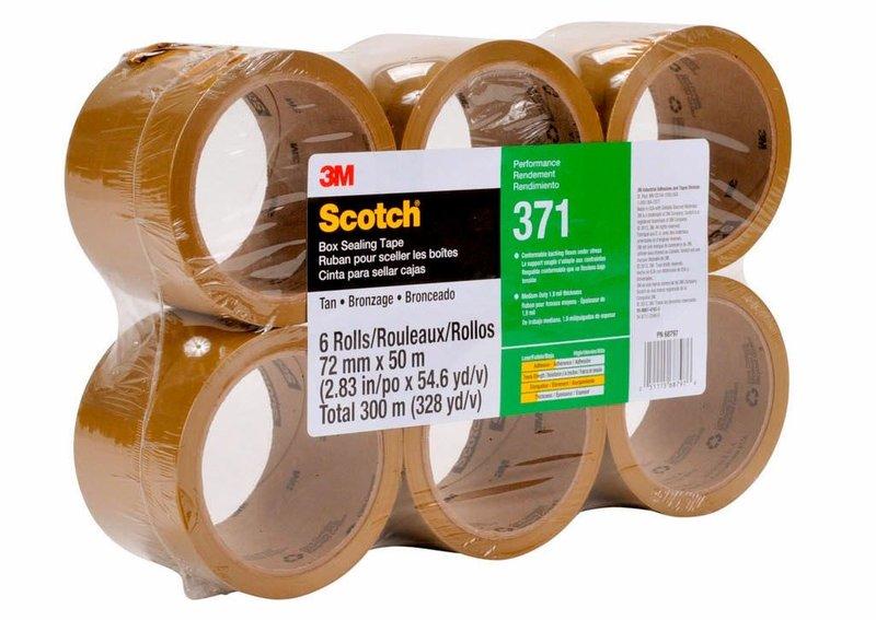 3M 371 Cinta de empaque Uso industrial Scotch 72 mm x 100 m