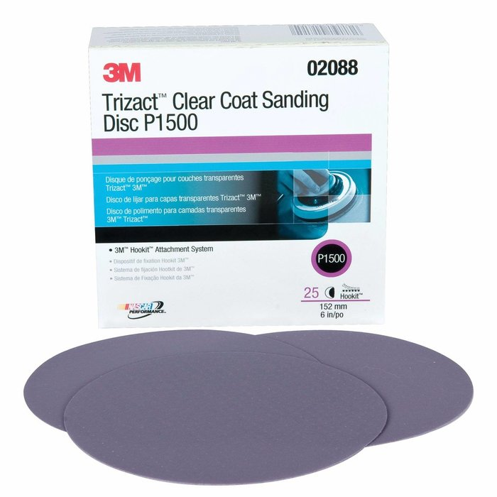 "3M 2088 Disco Hookit TRIZACT clear coat 6"" P1500"