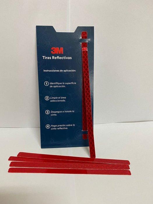 3M Cinta reflectiva (Paquete con 12 tiras) Rojo 7 mm X 145 mm