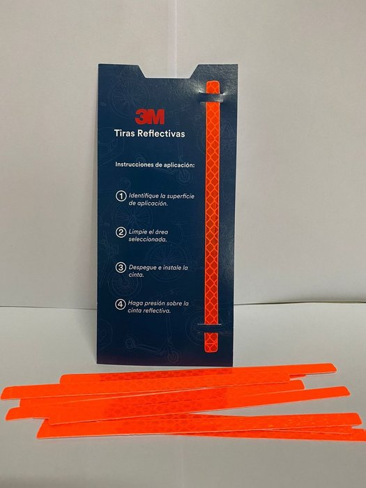 3M Cinta reflectiva (Paquete con 12 tiras) Naranja 7 mm X 145 mm