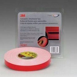 3M 6381 Cinta blanca con liner rojo 22mm x 18.3 MT