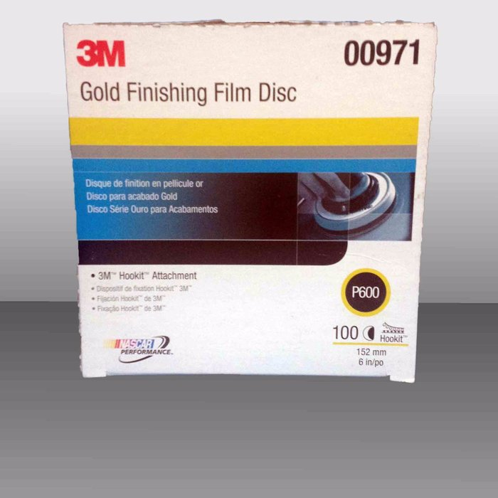 """3M 971 Disco Hookit Gold Film 6"""", P600 (Subempaque c/100)"""