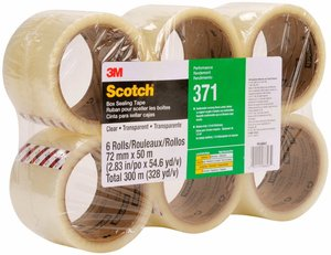 3M 371 Cinta de empaque Uso industrial Scotch 72 mm x 100 m