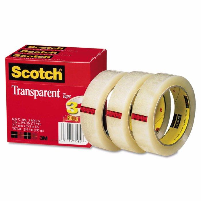 3M 600 Cinta adhesiva de empaque ligero Scotch 48 mm x 66 m