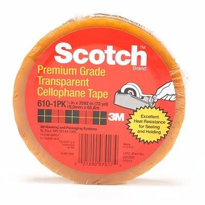 3M 610 Cinta adhesiva de empaque ligero Scotch 18 mm x 66 m
