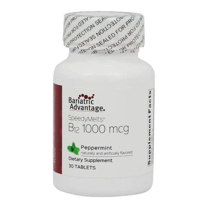 Bariatric Advantage B12 Sublingual 1000U Peppermint C/30