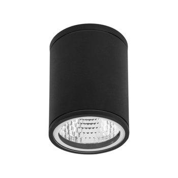 Luminario Led sobreponer muro negro Orión Estevez luz cál. 6W