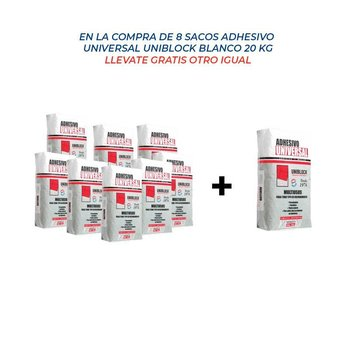Paq. promoción adhesivo universal 20 kg 8+1