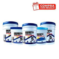 Paq impermeabilizante Unimper 5años bco 3 cubetas gratis 1 gorra