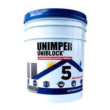 Impermeabilizante Acrílico Fibratado UNIMPER 5 Años Blanco 19L