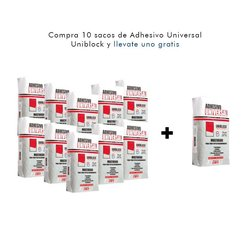 Paquete 10 + 1 Adhesivo Universal Uniblock Blanco 20 kg