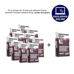 Paquete 10 + 1 Adhesivo Grandes Formatos Uniblock 20 kg Blanco
