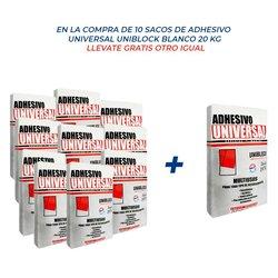 Paquete 10 + 1 Adhesivo Universal Uniblock Blanco 20 kg.