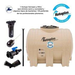 Tinaco Rotoplas 1100L Horizontal Filtro y Herrajes 1.43 x 1.05 m