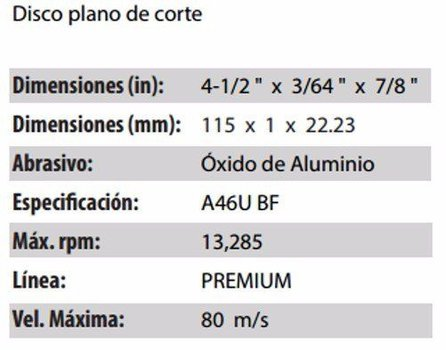 DISCO DE CORTE CLAVE 709