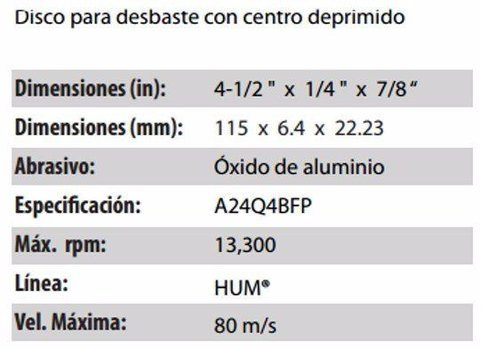 DISCO PARA DESBASTE CLAVE 560