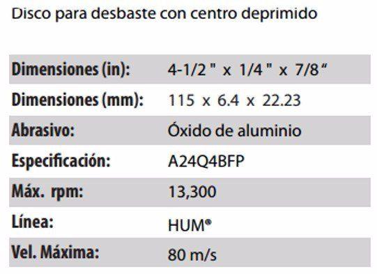 DISCO PARA DESBASTE CLAVE 560. PAQUETE 5 PIEZAS