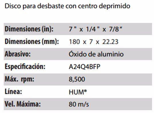 DISCO DE DESBASTE CLAVE 561. PAQUETE 5 PIEZAS