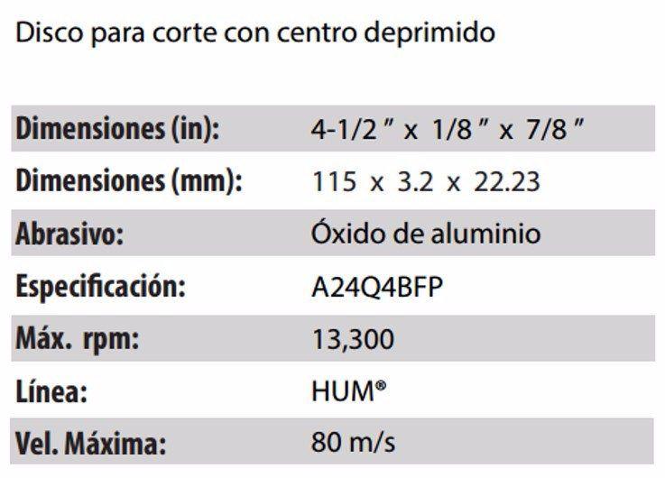 DISCO DE CORTE CLAVE 566. PAQUETE 5 PIEZAS