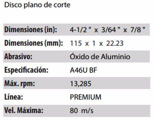 DISCO DE CORTE CLAVE 709. PAQUETE 5 PIEZAS