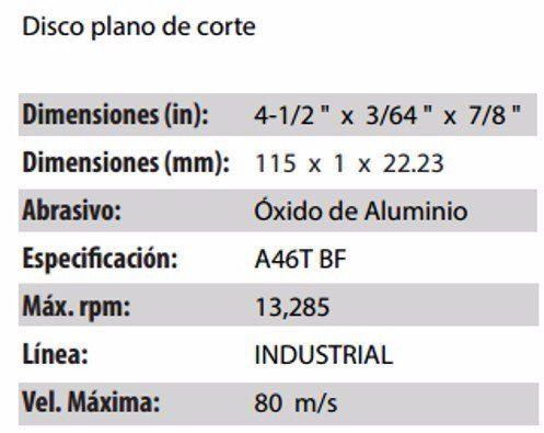 DISCO DE CORTE CLAVE 710. PAQUETE 5 PIEZAS