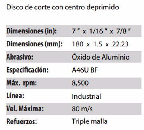 DISCO DE CORTE CLAVE 889. PAQUETE 5 PIEZAS